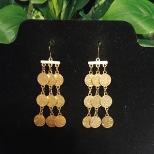 New brushed antique goldtone dangle earrings